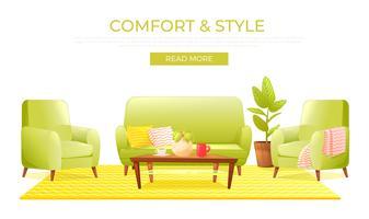 Bannière de design d'intérieur maison salon classique