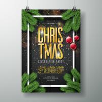 Modèle de conception d'affiche de fête joyeux Noël Vector avec éléments de typographie de vacances, branche de pin et boule de verre rouge sur fond sombre