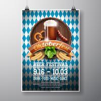 Illustration vectorielle affiche Oktoberfest avec bière brune fraîche