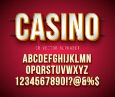 Police d'alphabet 3d vectorielle avec cadre et ombre sur fond rouge. Collection de motifs de caractères modernes avec ABC, chiffres et caractères spéciaux pour bannière