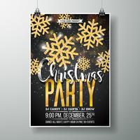 Modèle de conception d'affiche de fête joyeux Noël Vector avec éléments de typographie de vacances et flocon de neige or brillant sur fond sombre.