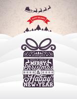 Vector illustration de vacances de joyeux Noël et bonne année avec la conception typographique et les flocons de neige sur fond de paysage d'hiver.