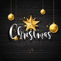 Illustration de vecteur joyeux Noël sur fond bois vintage avec des éléments de typographie et de vacances. Etoiles et boules d'ornement. Conception EPS 10.