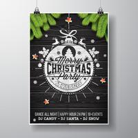 Vector design fête de joyeux Noël avec des éléments de typographie de vacances et des étoiles brillantes sur fond bois vintage.