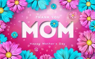 Conception de carte de voeux bonne fête des mères avec des éléments floraux et typographiques sur fond rose. Je t'aime maman Vector Celebration Illustration modèle