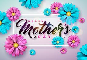 Carte de voeux bonne fête des mères avec fleur sur fond rose. Modèle de Vector Celebration Illustration avec un design typographique pour la bannière, flyer, invitation, brochure, affiche.