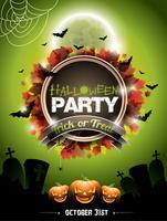 Illustration vectorielle sur un thème de fête d'Halloween avec des citrouilles.