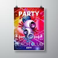 Vector Amazing Party Flyer Design avec haut-parleurs sur fond de couleur
