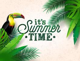 Vector illustration typographique de vacances de l'heure d'été avec oiseau toucan et fleur sur fond de plantes tropicales. Modèle de conception avec une feuille de palmier vert pour bannière, flyer, invitation, brochure, affiche ou carte de voeux.