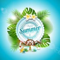 Vector Profitez de l'illustration typographique de vacances d'été sur le badge blanc et fond de plantes tropicales. Fleurs, lunettes de soleil et éléments marins avec un ciel bleu. Modèle de conception pour la bannière