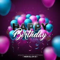 Joyeux anniversaire Vector Design avec ballon, typographie et élément 3d sur fond brillant. Illustration pour la fête d'anniversaire. cartes de vœux ou une affiche.