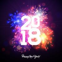 Bonne année 2018 Illustration avec feu d'artifice et numéro blanc sur fond bleu brillant. Conception de vacances de vecteur pour carte de voeux Premium, invitation au parti ou bannière promotionnelle.