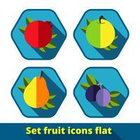 jeu d'icônes de fruits vecteur
