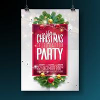 Conception de fête de vecteur joyeux Noël avec des éléments de typographie de vacances et boule ornementale, branche de pin, Girland sur fond rouge Illustration de flyer de célébration. EPS 10.