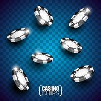 Illustration vectorielle sur un thème de casino avec des couleurs jouant des jetons et des cartes de poker sur fond sombre.