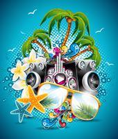 Conception de flyer vecteur vacances été avec palmiers et haut-parleurs sur fond bleu