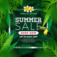 Conception de vente d'été avec des feuilles de fleurs, de toucan et exotiques sur fond vert. Illustration vectorielle floral tropical avec des éléments de typographie offre spéciale pour le coupon vecteur