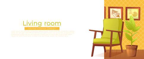Bannière de design d'intérieur maison salon vecteur
