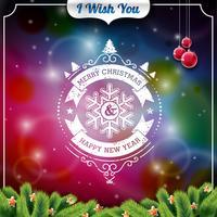 Vector illustration de Noël avec un design typographique sur fond brillant.