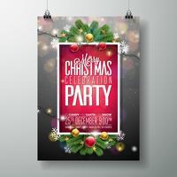 Conception de fête de vecteur joyeux Noël avec des éléments de typographie de vacances et des boules d'ornement sur fond bois vintage. Illustration de célébration Fliyer. EPS 10.
