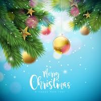 Illustration de vecteur joyeux Noël avec des boules d'ornement et une branche de pin sur fond bleu brillant. Bonne année, conception de typographie pour carte de voeux, affiches, bannières.