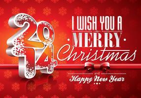 Fond de célébration vecteur rouge joyeux nouvel an 2014 avec ruban.