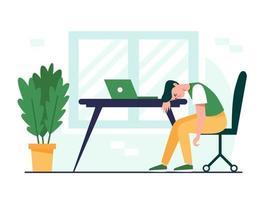 homme épuisé assis à la table. illustration de concept d'épuisement professionnel. employé de bureau frustré et fatigué, date limite, problème de santé mentale. illustration vectorielle plane. vecteur