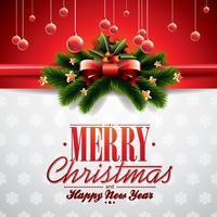 Vector illustration de Noël avec des éléments de ruban et de vacances brillantes