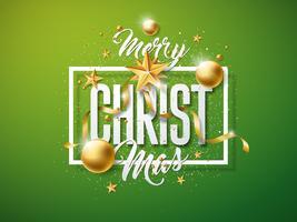 Vector Illustration de joyeux Noël avec boule de verre doré, étoiles papier découpé et éléments de typographie sur fond vert Conception de vacances pour carte de voeux Premium, invitation à la fête ou bannière promotionnelle.