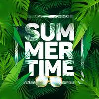 Vector illustration typographique de vacances de l'heure d'été sur la paume des feuilles fond.