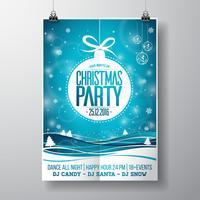 Vector design fête de joyeux Noël avec des éléments de typographie de vacances et des boules de verre sur fond de paysage d'hiver.