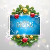 Illustration de vecteur joyeux Noël sur fond rouge brillant avec la typographie et guirlande lumineuse de vacances, branche de pin, flocons de neige et boule ornementale. Bonne année Design.