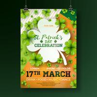 Saint Patrick's Day Party Flyer Illustration avec lettre de trèfle et de typographie sur fond abstrait. Vector Irish Lucky Holiday Design pour affiche, bannière ou invitation de célébration.