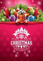 Illustration de vecteur joyeux Noël joyeuses fêtes avec boîte de conception et de cadeau typographique sur fond rouge des flocons de neige.