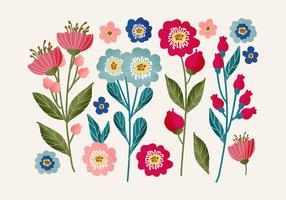 Ensemble floral dessiné à la main de vecteur