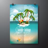 Conception de flyer vecteur vacances été avec palmiers et éléments d'expédition