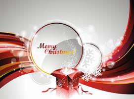 Vector illustration de Noël avec une boîte cadeau sur l'espace de texte