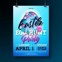 Vector illustration de flyer fête chasse aux œufs de Pâques avec des fleurs en coupe silhouette d'oeuf