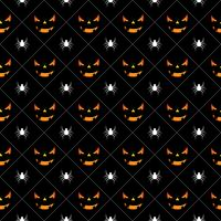 Illustration du modèle sans couture Halloween avec des citrouilles des visages effrayants et des araignées