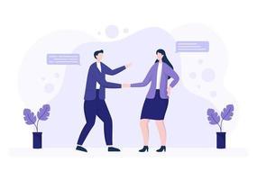 deux hommes d'affaires parviennent à un accord ou à un accord se serrant la main sur un contrat de coopération en tant que partenaires réussis. illustration vectorielle de fond vecteur