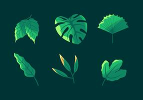 Jeu de Clipart vectoriel feuilles vertes simples