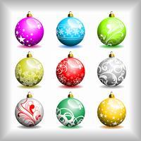 Neuf bulles de Noël de différents vecteurs.