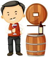 Vigneron tenant un verre de vin