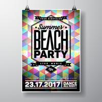 Vector Summer Beach Party Flyer Design avec éléments typographiques et espace copie