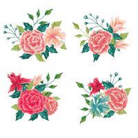 Bel ensemble de composition florale vecteur