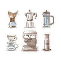 Main Dessin Café Méthode Elements Clip Art Vecteur
