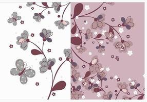 Paquet vectoriel de papier peint de fleurs naturelles