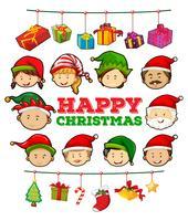 Modèle de carte de Noël avec des ornements vecteur