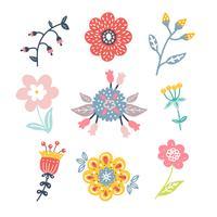 Pack de clip de fleurs dessinés à la main vecteur