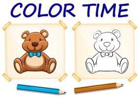 Modèle de coloration avec ours en peluche vecteur